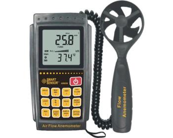 Анемометр Smart Sensor AR856 (SR5856) (0.3-45м/с) с выносным датчиком и памятью на 500 зам.,ПО, Софт