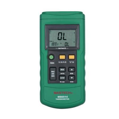 Двухканальный термометр Mastech MS6514 (-200~1372℃) с совместимостью с термопарами К,J,T,E,R,S,N типов, ПО