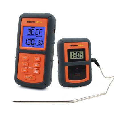 Беспроводной термометр (до 100 м) ThermoPro TP-07 (0-300 °С) в прорезиненном корпусе
