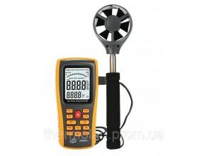 Анемометр Benetech GM8902+ (0.3-45m/s; 0-45ºC; 0-999900m3/min), USB, Память 50 с телескопической рукояткой