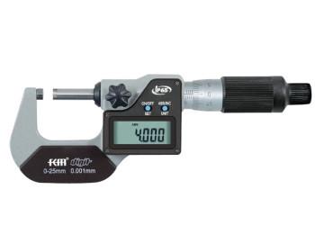 Микрометр цифровой KM-2133-25 / 0.001 (0-25 мм) в водозащищённом металлическом корпусе IP 65