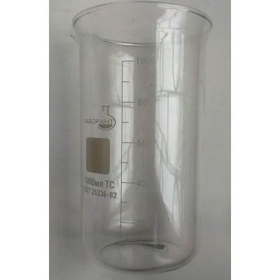Стакан мерный В-1-1000 ТС (высокий с носиком) со шкалой V-1000 мл ГОСТ 25336-82 из термически стойкого стекла