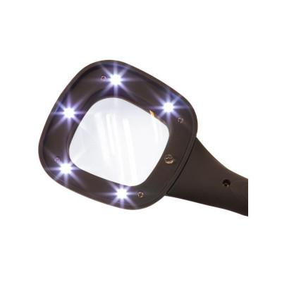 Лупа ручная квадратная TH-600558 (60мм-3Х) со светодиодной и ультрафиолетовой подсветкой