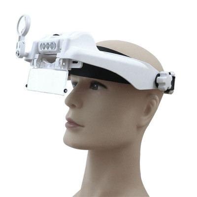 Бинокулярная налобная лупа Magnifier 81000G (1.5Х/2X/2.5X/3X/3,5Х/8X) с регулируемой подсветкой