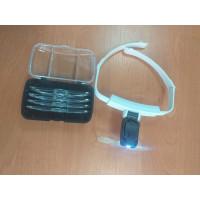 Лупа-очки бинокулярные налобные ТН-9201 с подсветкой