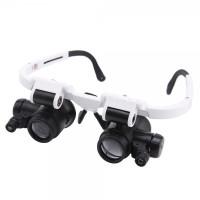 Лупа-очки бинокулярные NO.9892H-3 (6x/25x) c LED подсветкой