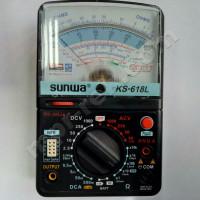 Мультиметр аналоговый SUNWA KS-618 (1000В, DC10A, 20МОм, hFE, тест батарей, подсветка)