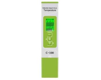 Комбинированный TDS/EC/SALT/S.G./Temp - метр - С-100 ( с подсветкой дисплея)