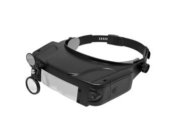 Бинокулярная налобная лупа Magnifier MG81007-С (1.5х, 3.0х, 9.5х, 11.0х) с регулируемой подсветкой