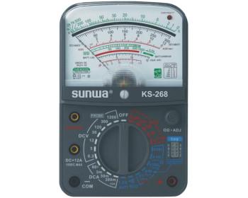 Мультиметр аналоговый SUNWA KS-268 (1000В, 5A, 2МОм, hFE, прозвонка,тест батарей)