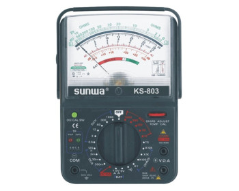 Мультиметр аналоговый SUNWA KS-803 (1000В, DC10A, 20МОм, hFE, тест батарей, звуковая прозвонка)