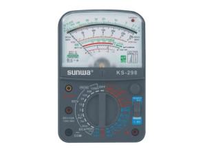 Мультиметр аналоговый SUNWA KS-298 (1000В, 5A, 20МОм, звуковая прозвонка, тест батарей, hFE)
