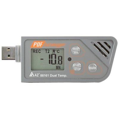 Логер температури (USB, 2 канали, з виносним зондом) AZ-88161